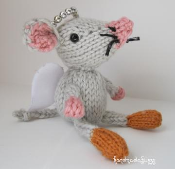 little Angel Mouse hand knitted critter