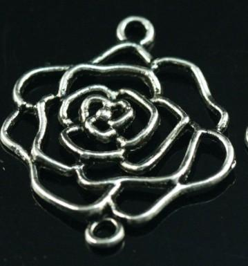 5 tibet silver flower connectors 37mm