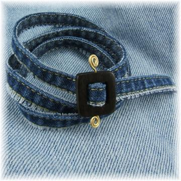 Denim Wrap Bracelet with Kamagong Wood Clasp