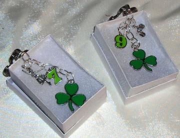 Shamrock Clover Enamel Key Ring Charm Bicycle