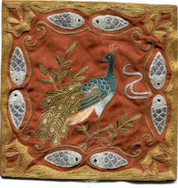 Beautiful Vintage Oriental Needlepoint Panel On Silk, Peacock
