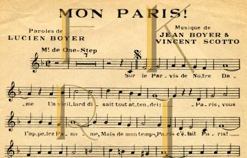 PARIS Song Vintage French Sheet Music DIGITAL Scan