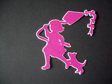 Spring little girl w/ kite blue Silhouette die cuts