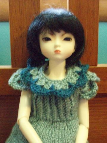 Mint &amp; Indigo Knit doll dress,  for ball jointed doll MSD BJD