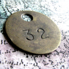 Lucky Vintage Brass Tag No. 32 With Pendant Hole