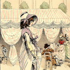 Antique 1877 French Pochoir Fashion Print, Paris Couture at the Cafe Des Tuileries