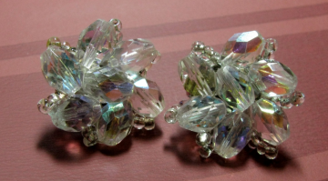 1950's Crystal Dazzle Clip-On Earrings