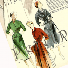 Vintage Mid-Century 1952 Paris Spring Couture Fashion Lithographs