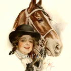 Harrison Fisher and Good Fellowship 1912 Edwardian Beauties Equestrian Fashion Lithograph