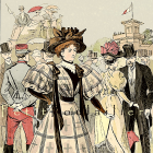 1877 Paris Fashion Pochoir Print ~ Grand Prix Day