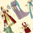 Antique 1925 Paris Fashion Pochoir Print, Renaissance Dress and Gown Couture, Pl 1