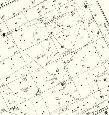 Antique 1892 Victorian Astronomy Engraving, Night Sky Stars and Constellations Map