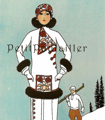 Vintage 1979 Paris La Belle Epoque Ski Fashion Lithographs, Pl 51
