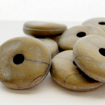 8 Vintage Acrylic Washed Bronze Matte Flat Spacers Large Hole