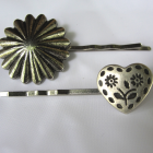 Set of Two Button Hairpins