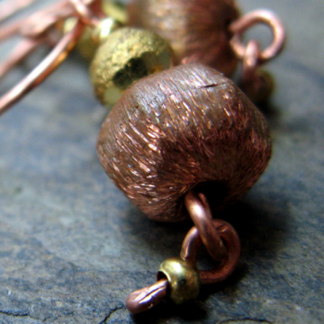 delphi-- handmade copper and brass earrings