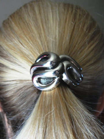 Swirls of Silver Ponytail Holder
