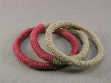 red and tan hemp fiber wrapped bangles 143