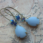Celeste ~ earrings glass crystal brass enamel