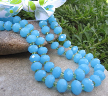 Double Strand Aqua Blue and Peridot Necklace