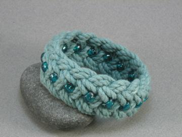 teal blue turks head knot rope bracelet w turquoise beads med 520