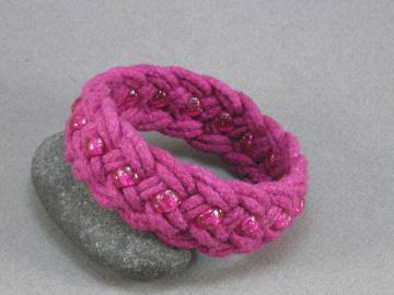hot pink turks head knot sailor  bracelet with beads 519