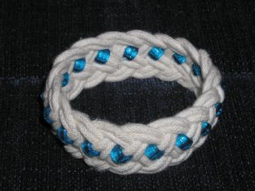 white w blue beads turks head knot sailor bracelet  medium 358