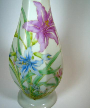 Bud Vase, Lilies and Butterflies, KYOEI, Japan