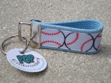 Baseball On Light Blue Mini Key Fob