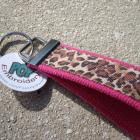 Leopard and Hot Pink Wristlet Key Fob