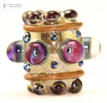 Barrel Bead |  Golden Jewel Glass Lampwork Focal