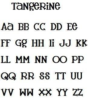 Tangerine Font Alphabet Machine Embroidery Design