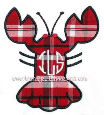 Lobster1 Applique Machine Embroidery Design