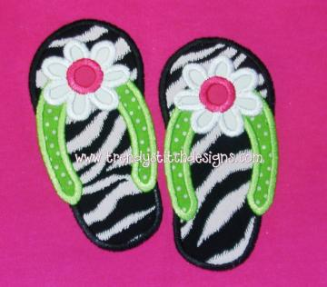 Flip Flop FLOWER Applique Machine Embroidery Design