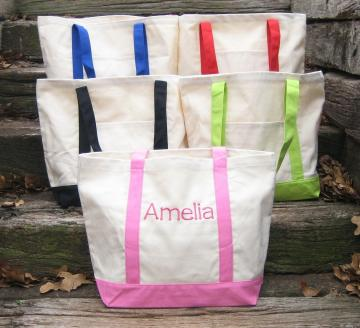 TWO Personalized Canvas Bags - School Tote bag - Beach Bag - Pool Bag - You Choose your Color - You choose your Font - Library Bag - Work Bag