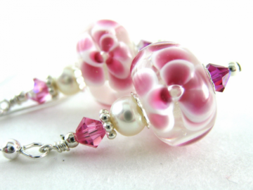 Peonies and Pearls Lampwork Crystal Earrings