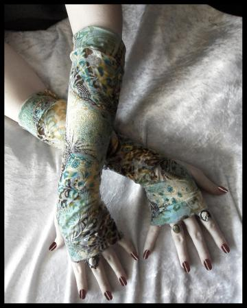 Arm Warmers in Teal, Cream, Golden Ochre and Plum Brown Floral Motif and Burnout Mandelas Cotton for Gothic, Belly Dance, Tribal Fusion Bellydance, Steampunk, Chic, Classic, Noir, Mehndi, Gaia, Cycling, Running, Earth, Yoga, Light Styles