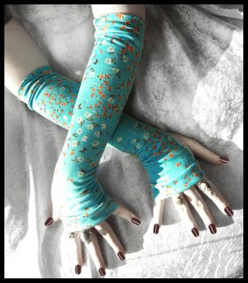 Arm Warmers in Orange, Brown and Cream Floral Blossoms and Butterflies on Turquoise Teal for Gothic, Belly Dance, Tribal Fusion Bellydance, Steampunk, Classic, Noir, Bohemian, Earth, Yoga, Cycling, Running, Hippie, Emo, Romantic Style