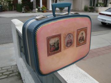 Upcycled Suitcase, Pink, 1860s Tintypes