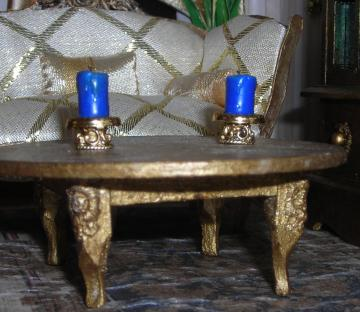 Pair of Blue Pillar Candles on Gold Stands in One Inch Dollhouse Scale