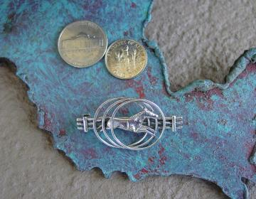 Sterling Silver Horse and Fence Pin Brooch