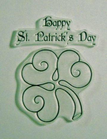 Happy St. Patrick's Day clear stamp with clover