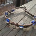 Anklet hemp with glass beads