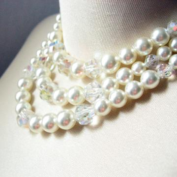 50s-60s Vintage Faux Pearl & Crystal 3-Strand Necklace