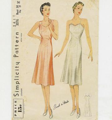 Full Slip pattern by Simplicity 3076 in Size 36 - circa 1940