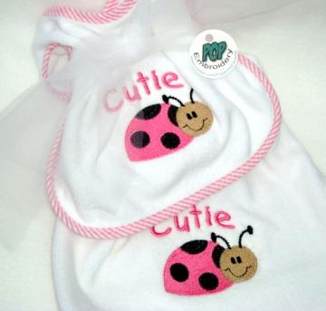 Cutie Ladybug Bib and Burp Cloth Set