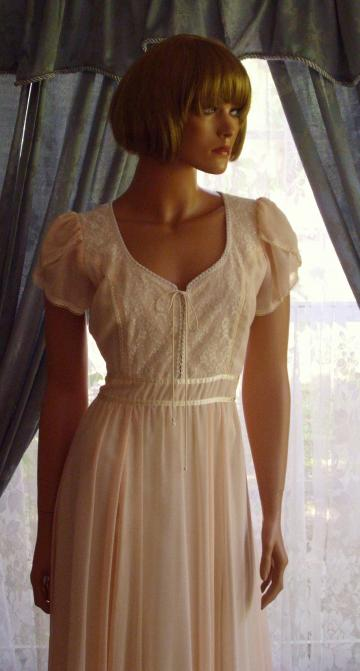 Vintage Gunne Sax Dress Peach & Beaded Romance of Spring Size 11