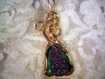 Window Druzy Pendant Rainbow Titanium Greenish Color