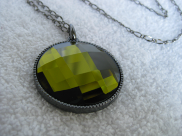 Dark Green Glass Pendant Necklace