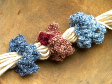 Hair Scrunchies Crocheted Denim & Wine 3 pk